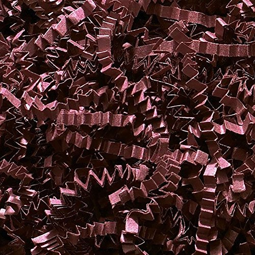 Custom & Unique {4 Ounces} of Crinkle Cut Shredded Gift Basket Filler Paper Made From Cardstock w/ Deep Burgundy Chocolate Tone Modern Elegant Fall Autumn Crimped Grass Scatter Design (Dark Red)]()