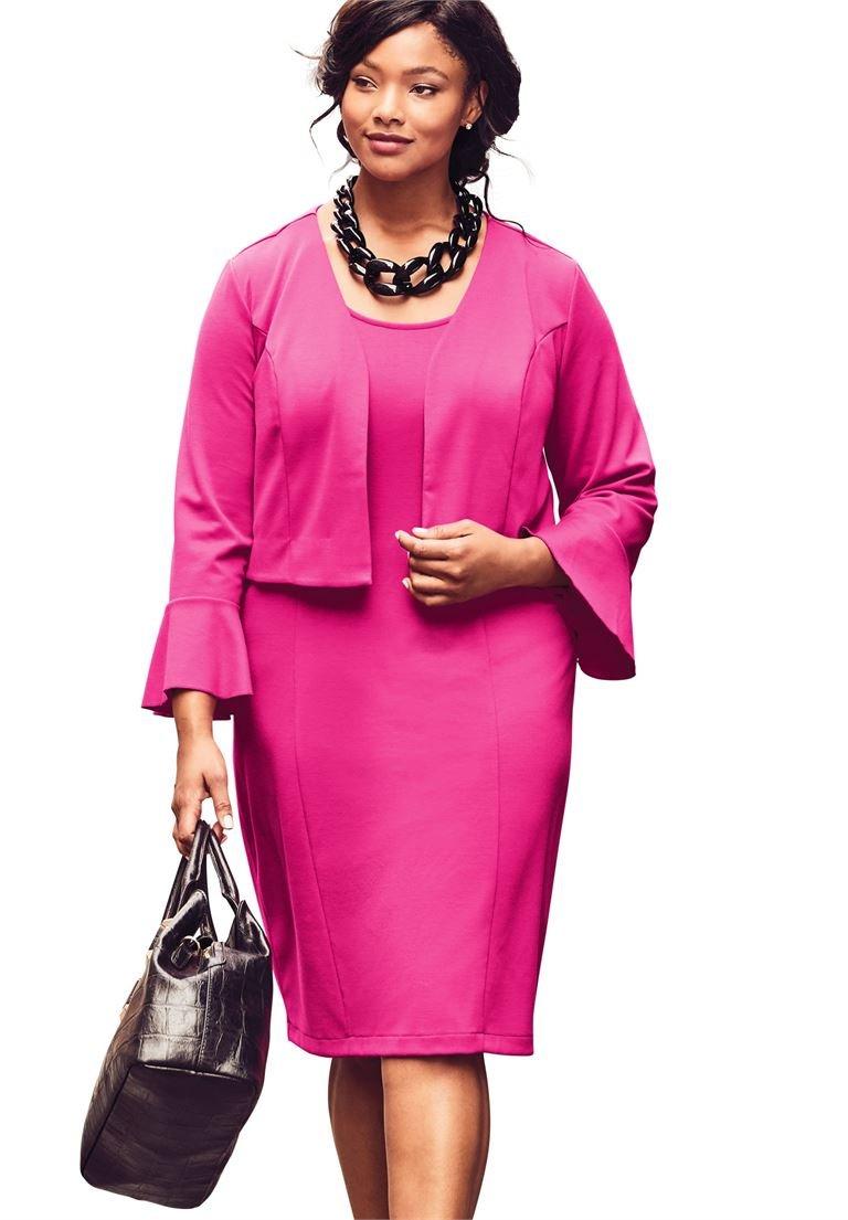 Jessica London Women's Plus Size Flounce Sleeve Ponte Jacket Dress Passion