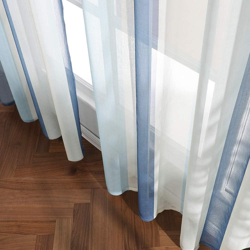 MIULEE 2 Panel Contemporary Decorative Ring Top Eyelet Voile Curtains Elegance Pinstripe Sheer Panels for Bedroom Livingroom Nursery Room 55 wide x 88 Drop Green+Pink 140cm x 225cm