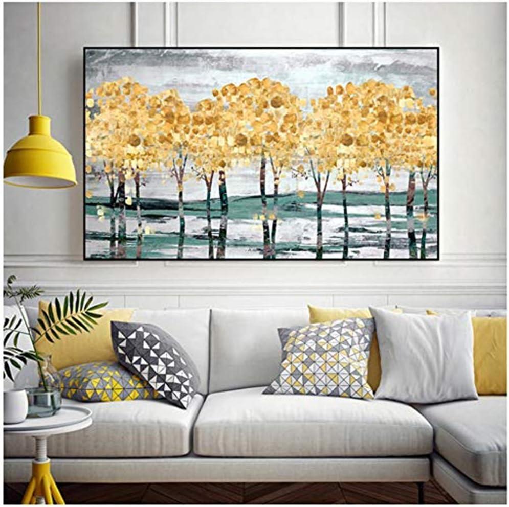 YCCYI Cuadro en Lienzo Arte de la Pared Árbol de Oro Bosque Imagen Paisaje de otoño Pintura en Lienzo Decoración Moderna Arte de la Pared para Sala de Estar 70x120cm (27.6x47.2 Pulgadas) Sin Marco