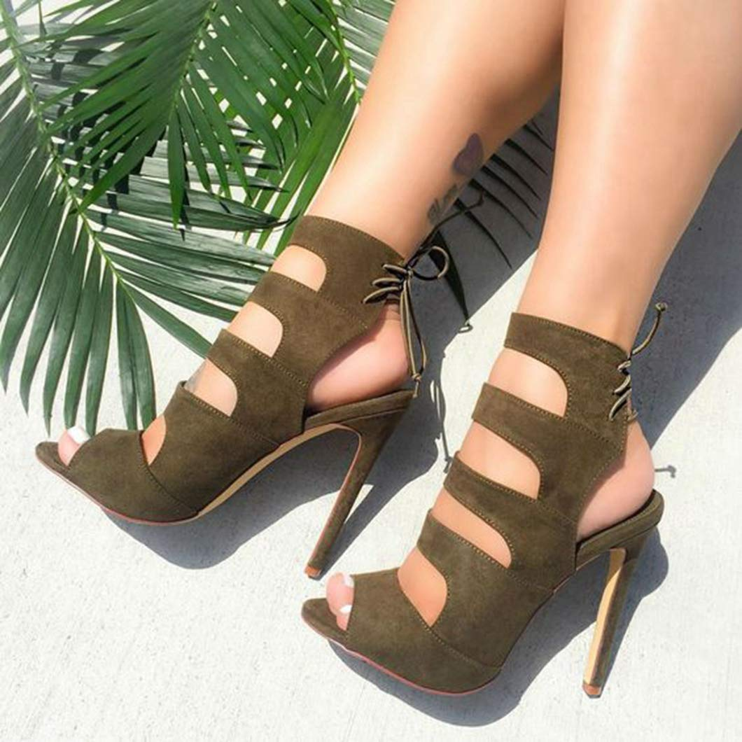 ODOKAY Womens Shoes Army Green Plus Size High-Heeled Sandals Hollowed Out Popular Ladies Sandal