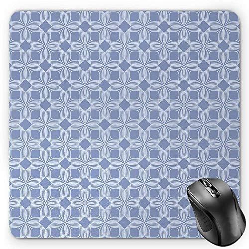 BGLKCS Doodle Mouse Pad, Diagonal Squares Pattern Geometric Interwoven Shapes Ornamental Lace Illustration, Standard Size Rectangle Non-Slip Rubber Mousepad, Blue Grey