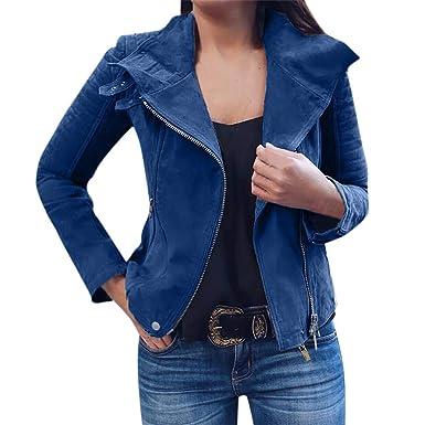 Outwear Coole Übergangsjacke Bomberjacke Retro Reverskragen Jacke Geili Casual Streetwear Pilotenjacke Reißverschluss Kurz Bikerjacke Mantel Damen uPkXiOZTw