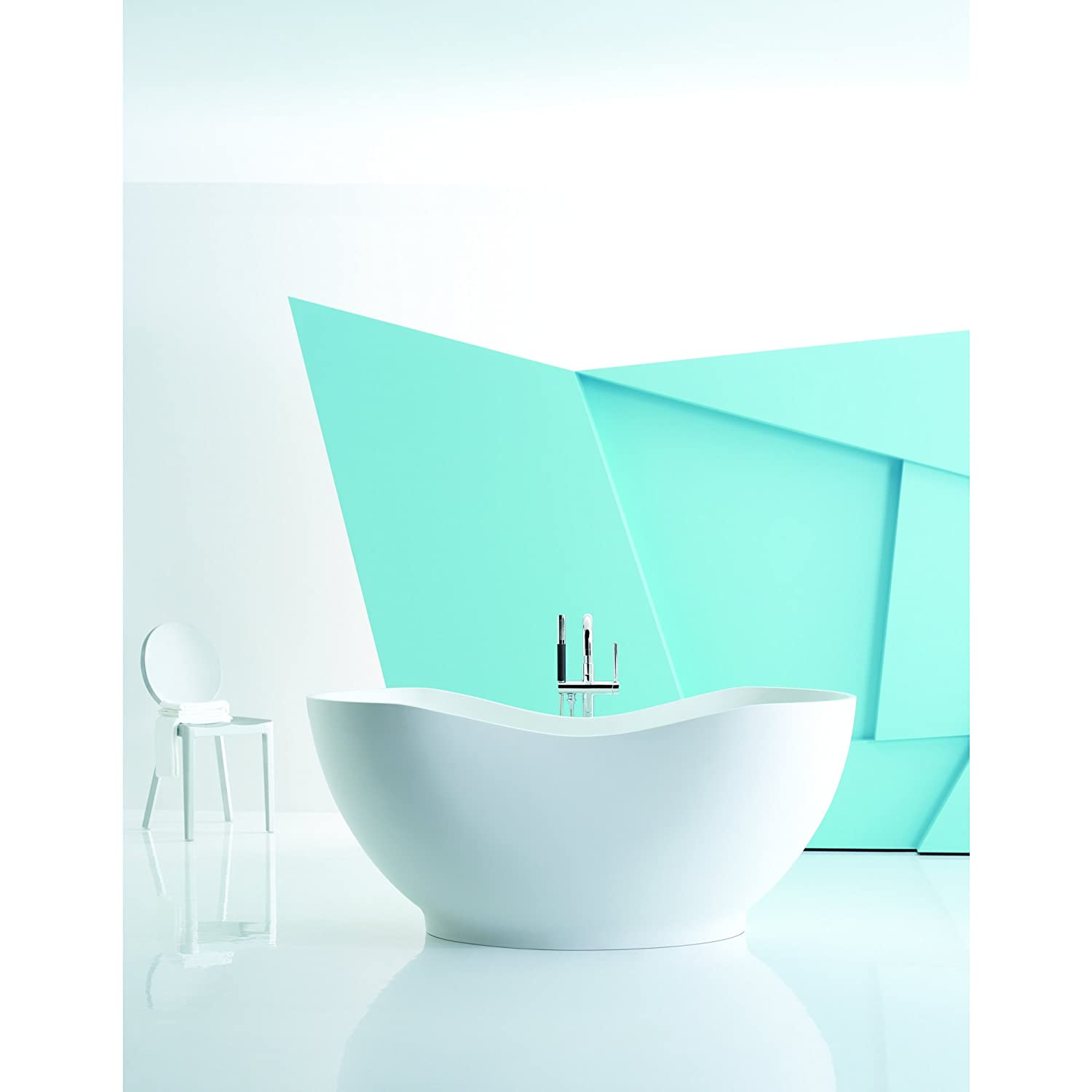 KOHLER K-1800-HW1 Abrazo Freestanding Bath, Honed White - Soaking ...