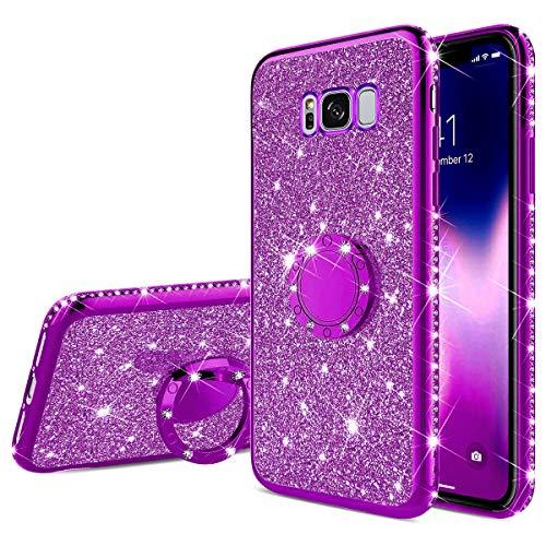 Housse Bumper De Samsung Strass Rotation Souple Kickstand S8 Protection or Diamant Anneau morechioce Bling Étui Glitter Silicone Galaxy Pourpre Béquille Avec 360 Compatible Coque qwFa11