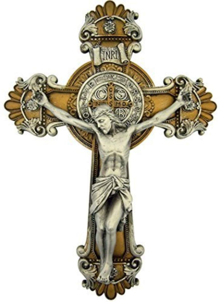 Religious Gifts Saint Benedict Wall Crucifix with Antique Silver and Gold Finish, 10 1/4 Inch by Religious Gifts