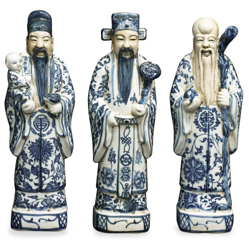 Oriental Hand Painted Porcelain (Hand Painted Blue and White Porcelain Three Lucky Gods Figurines)