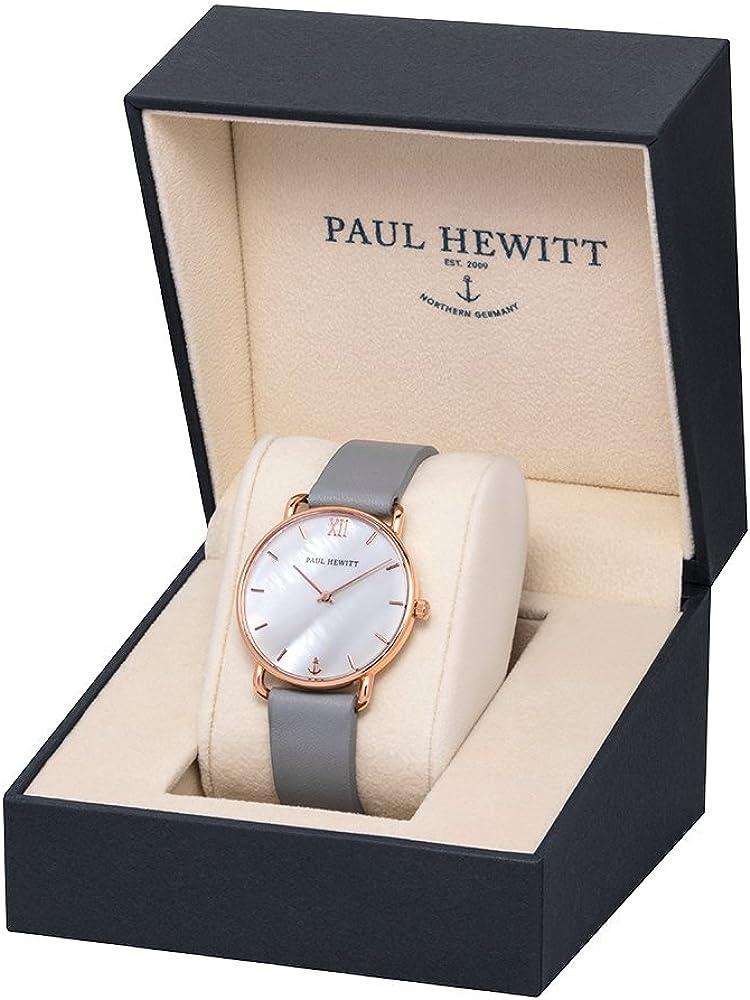 PAUL HEWITT Miss Ocean Pearl - Orologio da donna (oro rosa) con cinturino in pelle e cinturino in acciaio INOX, quadrante in madreperla Grey