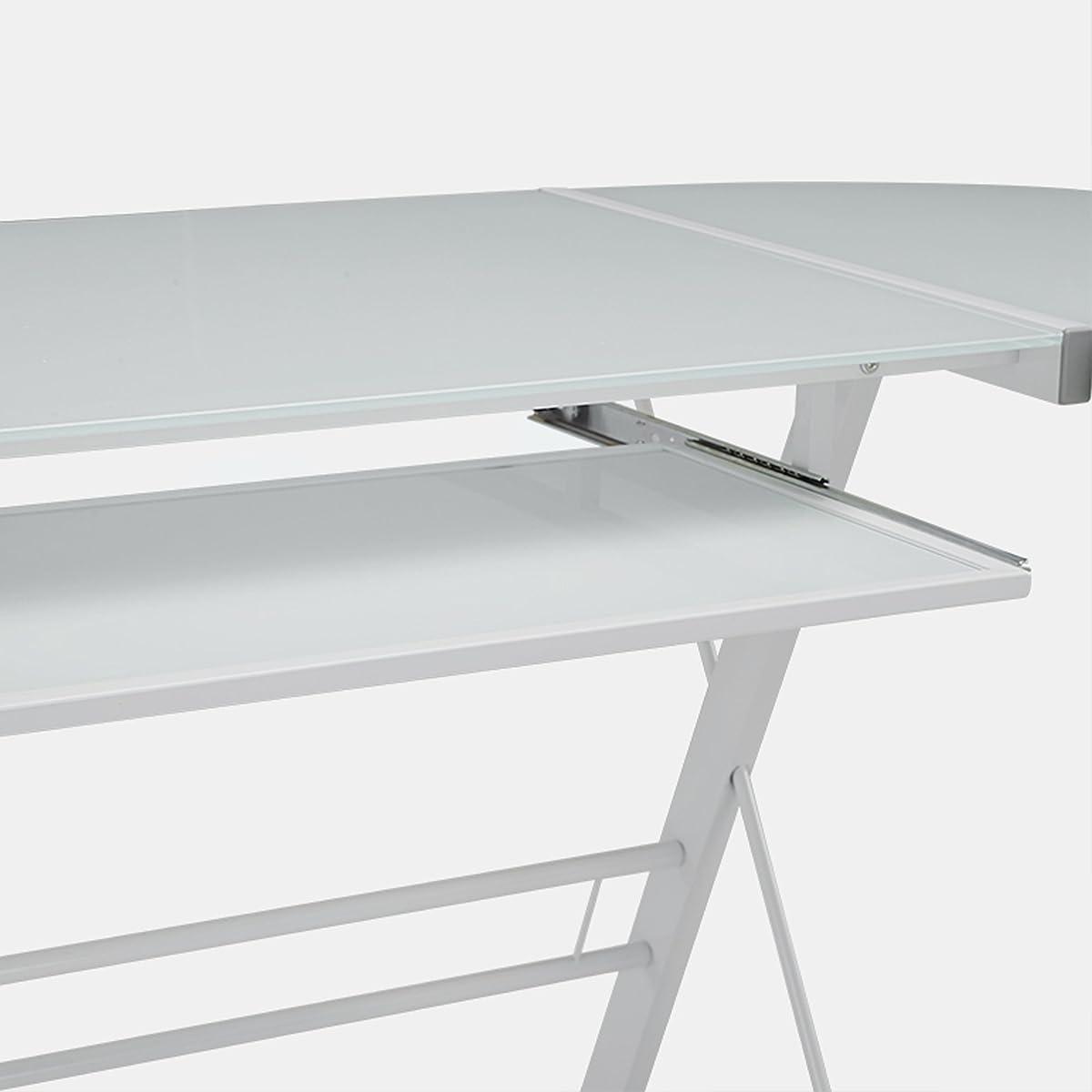WE Furniture Glass Metal Corner Computer Desk