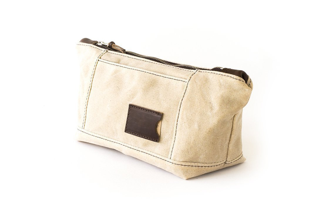 Waxed Canvas Toiletry Bag: Large, Travel, Organizer, Natural - No. 317 (Made in the USA)