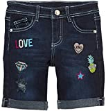 ToBeInStyle Girl's Denim Mini Shorts - Love Patches Bermuda Shorts - 8