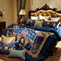 DACHUI Cotton bed sheets - 1800 beds fade, stain resistant - Hypoallergenic - 4 units (Court of style - Plants Flowers) - G Queen 1.