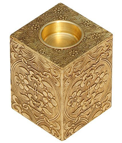 SouvNear Golden Pillar Candle Holder - 4 Inch Antique Look Votive Candle Holder - Metal & Wood Tea Light Holder - Decorations for Table, Home, (Floral Wood Candle Holder)