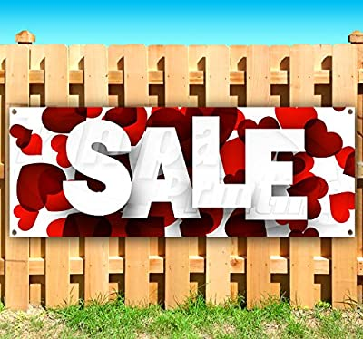 SALE WITH HEARTS 13 oz heavy duty vinyl banner sign with metal grommets, new, store, advertising, flag, (many sizes available)