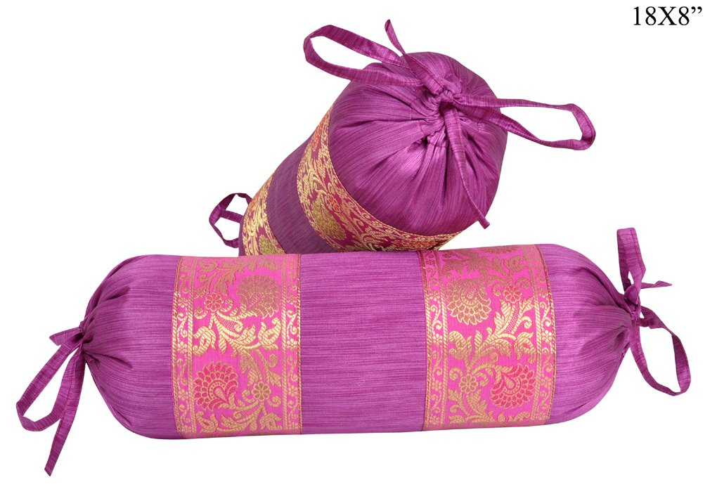 Lalhaveli Purple Color Silk Bolster Pillow Covers Decorative 18 x 8 Inch
