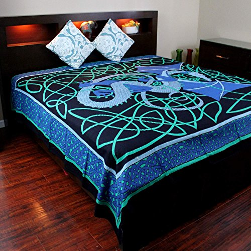 (Cotton Celtic Dragon Tapestry Tablecloth Throw Bedspread Beach Sheet Dorm Essential 70 x 104 inches Blue)