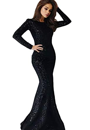 1f11378947e 2019 Long Sleeves Sequins Mermaid Prom Dresses Crew Neck Sweep Train Formal  Party Evening Gowns Black