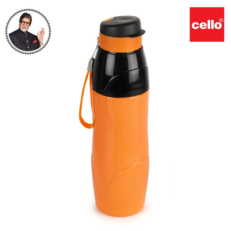 Cello Puro Steel-X Lexus Inner Steel Outer Plastic with PU Insulation Water Bottle, 600ml, Orange