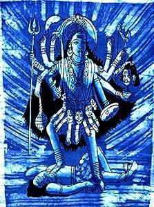 Hindú diosa Kali Batik tapiz algodón tela decoración de la pared para colgar (tamaño pequeño)