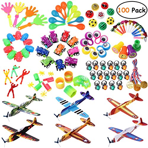 iBaseToy Party Prizes, 100PCS Party Favors Toy Assortment Kids Birthday Party, Carnival Prizes, School Classroom Rewards, Pinata Fillers, Party Toys Glider Planes, Medals, Party Noise Maker for $<!--$18.99-->