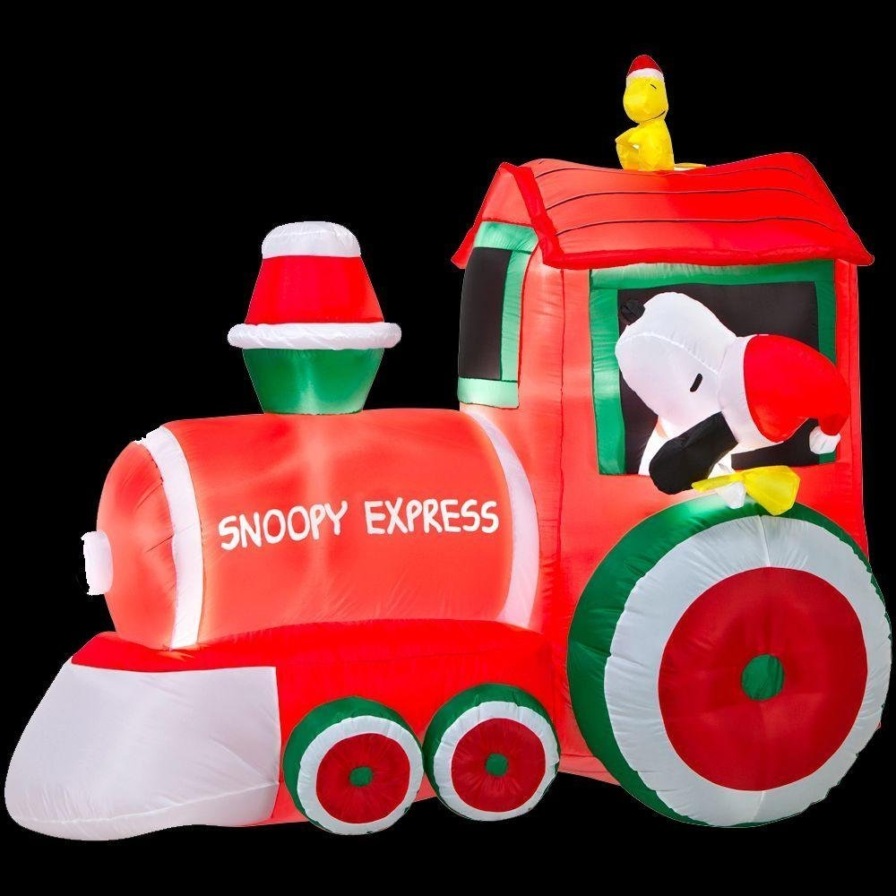amazoncom christmas inflatable peanuts snoopy express train with woodstock peanuts outdoor yard decoration garden outdoor