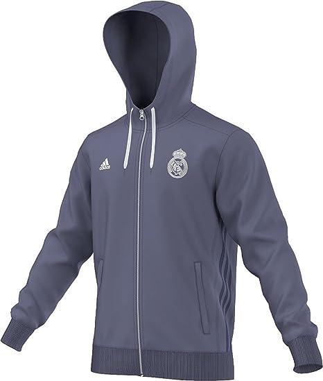 e2684eee54ce Amazon.com   Adidas Mens Real Madrid 3Stripes Soccer Hoodie XL Super Purple-Raw  Purple-White   Sports   Outdoors