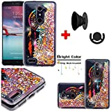 ZTE ZMax Pro / Grand X Max 2 Case, Willmart (Tm) Dynamic Water Glitter Moving Stars Slim Fit Thin Silicone TPU Liquid Soft Cover + Free Stand Grip (Dreamcatcher / Gold)