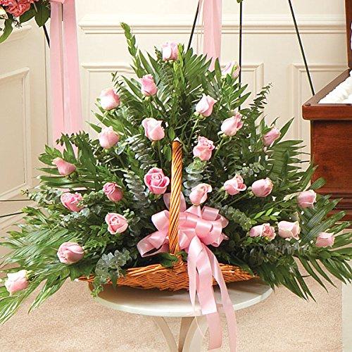 PlantShed - Sincerest Sympathies Fireside Basket - Pink - Flower Hand Delivery in NYC Local Manhattan (Pink Casket Spray Flowers)