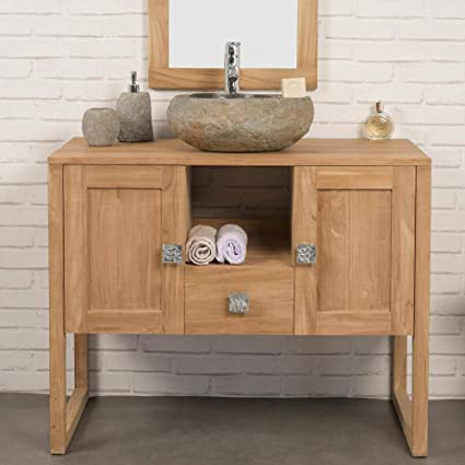 wanda collection Mueble Cuarto DE Baño de Teca Maciza THEA 100 CM ...