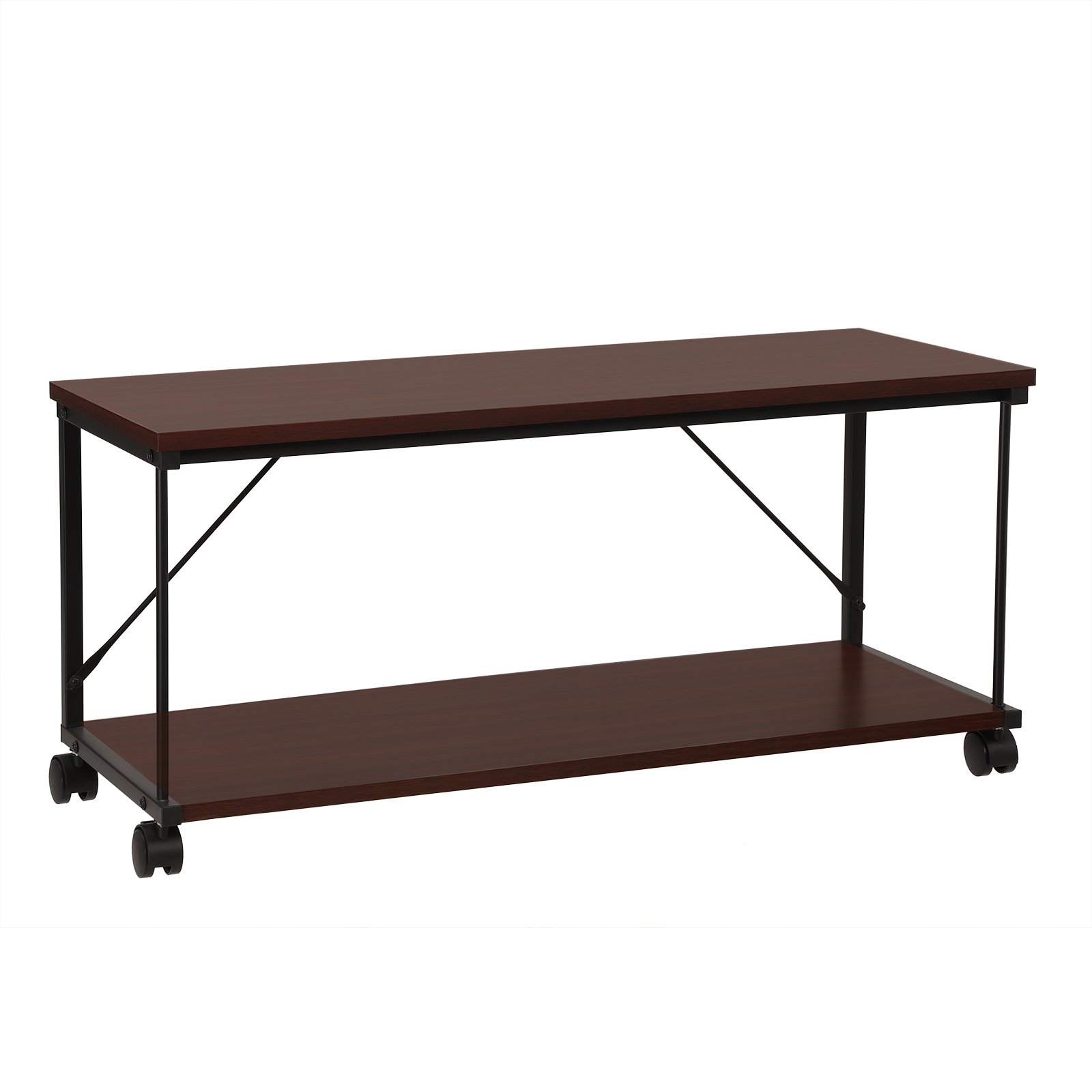 SONGMICS Coffee Table, Mobile TV Stand Cabinet with Wheels, Reddish Brown Wood Grain and Black Metal ULTV10BZ
