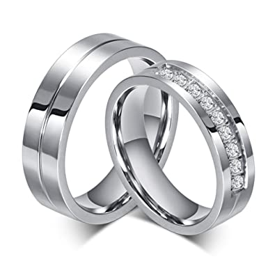 7709545055 SWOPAN Couple Rings for Him and Her Stainless Steel Matching Promise Ring  Princess Cut Bridal Wedding