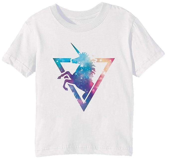 Erido Galaxia Unicornio Niños Unisexo Niño Niña Camiseta Cuello Redondo Blanco Manga Corta Tamaño XS Kids