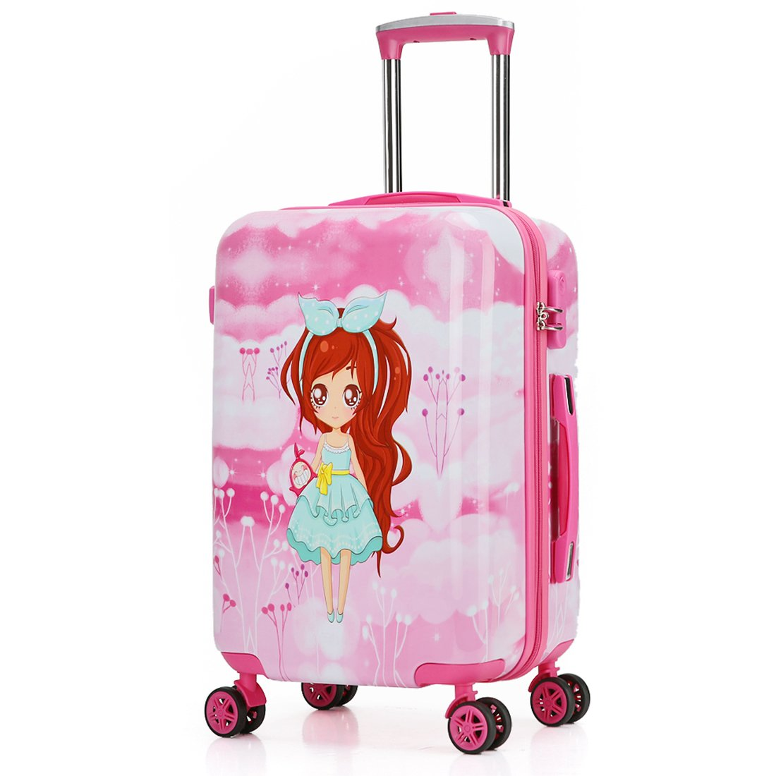 Kids Luggage Carry On Luggage With Spinner Wheels Toddlers Teenage Children Boys And Girls Travel Trolley Case (20inch, Pink Fairy Girl) by TOKERS