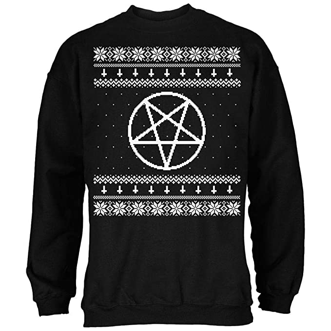 Satanic Christmas Sweater.Old Glory White Satanic Pentagram Ugly Christmas Sweater Black Adult Sweatshirt