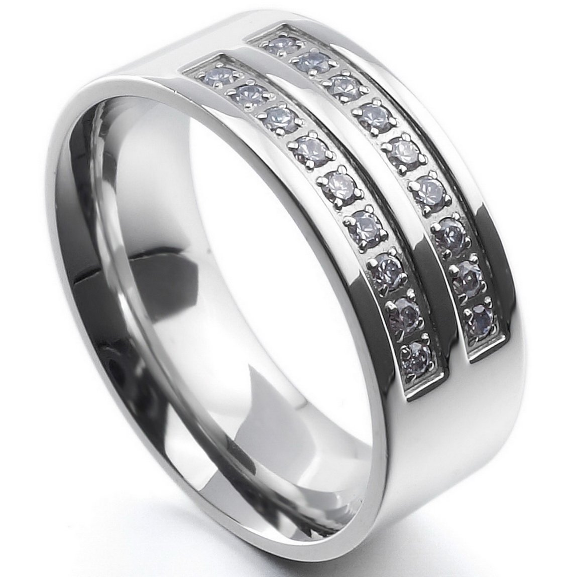 INBLUE Men's 8mm Stainless Steel Ring CZ Silver Tone Comfort Fit Band Wedding Size12 by INBLUE (Image #3)