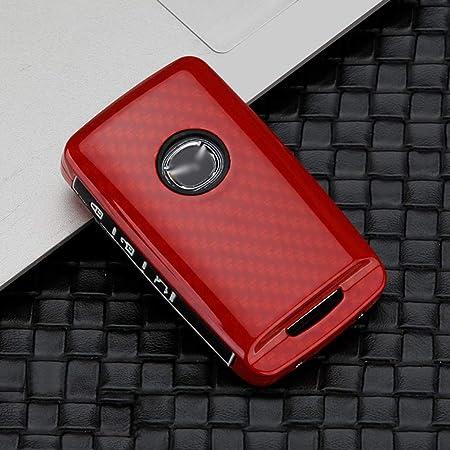 Ontto 3 Tasten Autoschlüssel Hülle Cover Für Mazda 3 Alexa Cx 30 2019 2020 Cx 5 Cx 8 2020 Schlüsselhülle Schlüsselanhänger Zinklegierung Gummi Schlüssel Schutz Etui Fernbedienung Kohlefaser Rot Auto