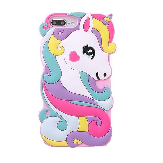 the best attitude 960ab 5101c for iPhone 6 Plus/6S Plus Case,for iPhone 7 Plus Case,for iPhone 8 Plus  Case,iFunny Cute 3D Cartoon Animal Rainbow Unicorn Horse Shockproof  Protective ...