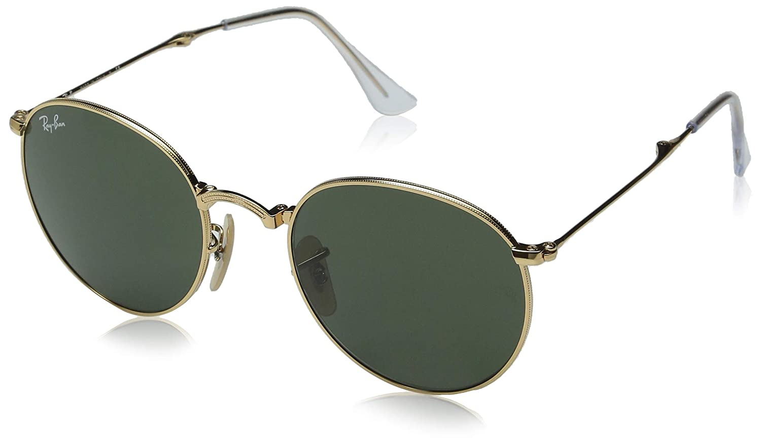78f8011e0 Amazon.com: Ray-Ban RB3532 Round Metal Folding Sunglasses, Gold/Green,50  mm: Clothing