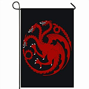 "Ahawoso Outdoor Garden Flags 12""x18"" Inch Casterly Red House High Redraw Targaryen Heraldic Walker Dragon Stark Bolton Got Khaleesi Daenerys Vertical Double Sided Home Decorative House Yard Sign"