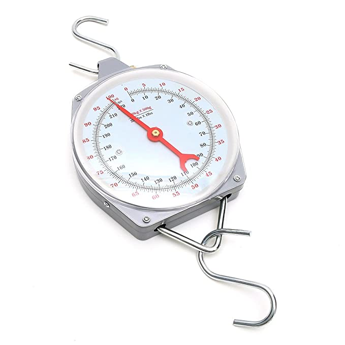 AMZVASO - Hanging Scale 100kg 220lbs Capacity Alloy Mechanical Hanging Scales With 2 Hook - - Amazon.com