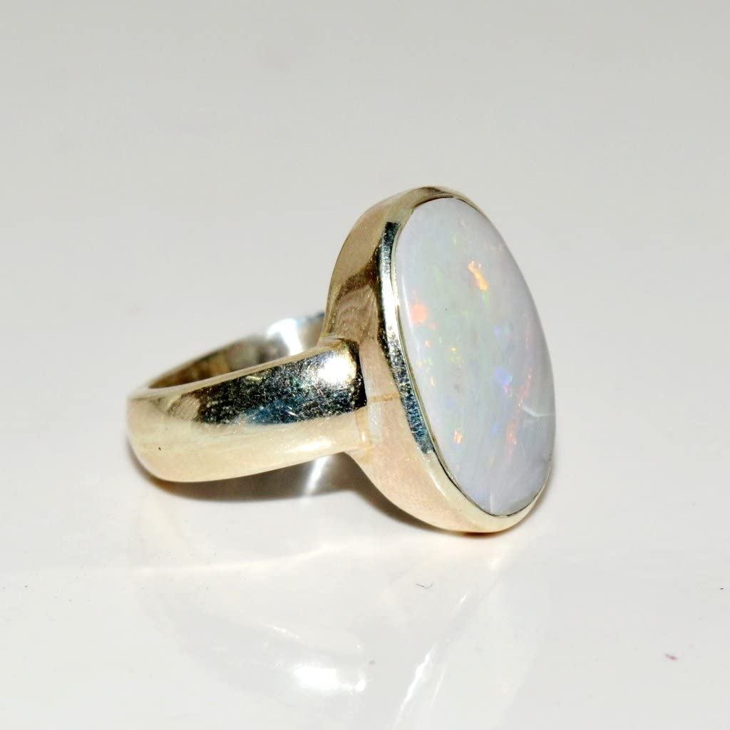 D585F Sterling Silver Ring Size 6.5 8 x 6 mm opal