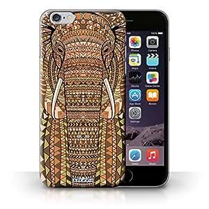 KOBALT? Protective Hard Back Phone Case / Cover for iPhone 6+/Plus 5.5 | Elephant-Orange Design | Aztec Animal Design Collection