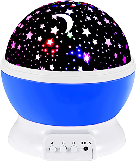 SnowCinda Toys for 2-8 Year Old Boys Girls, Star Projector Night Light for Kids with USB Cable, Moon Star Kids Night Lights Projector, 360° Rotation and 8 Color Lights, Gift for Kids Age 2-8 (Blue)