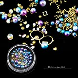 Mezerdoo 1 Box Mermaid Gradient Nail Pearls Multi-size Gold Mini Caviar Beads Crystal Rhinestone Glitter Nail Jewelry Metal Frame Resin Manicure 3D Nails Art Decoration (H-6 Blue)