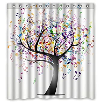 Multi-color Music Note Tree Creative Custom Waterproof Shower Curtain  Bathroom Curtains Bath Curtain 66x72