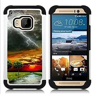 - lightning savannah road sunset nature Africa/ H??brido 3in1 Deluxe Impreso duro Soft Alto Impacto caja de la armadura Defender - SHIMIN CAO - For HTC ONE M9