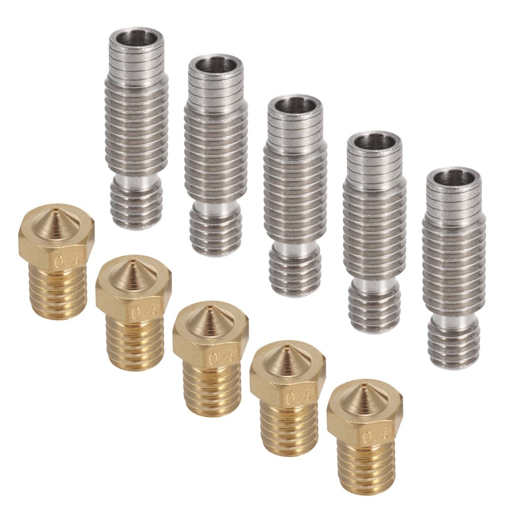 1.75mm Stainless Steel Nozzle Throat with PTFE Tube for V6 Makerbot PChero 5PCS M6 3D Printer 0.4mm Extruder Brass Nozzle Print Head