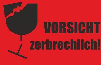 Indigos Ug Aufkleber Warnetikettenvorsicht Zerbrechlich Neon Rot 85 X 55 Mm 100 Stück