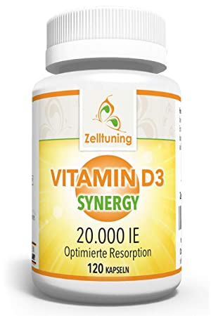 Zelltuning Vitamin D3 Synergy Hochdosiert - 20.000 IE pro Depot-Kapsel - Vitamin D konzipiert in einer Omega-3-Fettsäuren-Mat