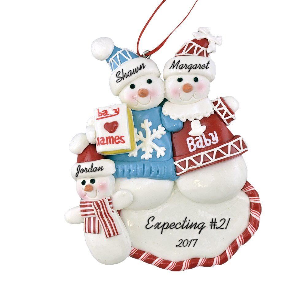 """Expecting A Second Child Personalized Christmas Ornament - Pregnant Family - Calliope Designs - 5"""" Tall - Free Customization"""